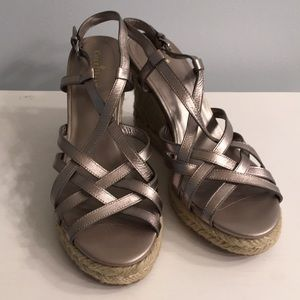 Cole Haan Metallic Pewter Strappy Espadrille Wedge